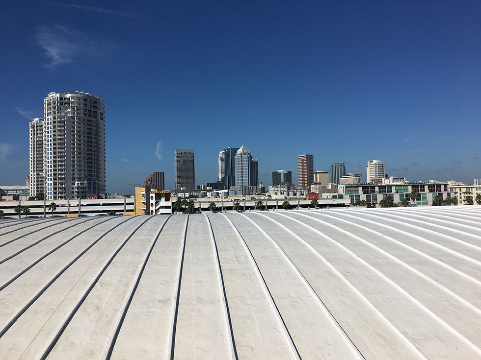 Tampa Bay Cruise Terminal Single-Ply Roof with Faux Standing Seams