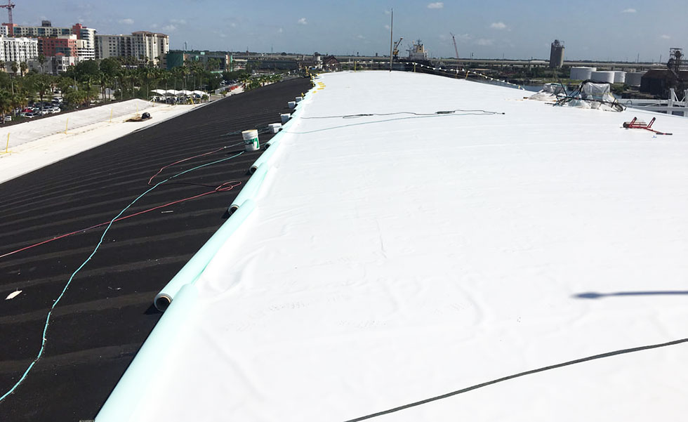 installation of single ply roof